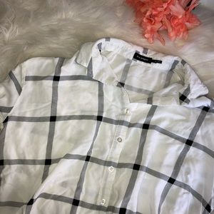 oversized black and white plaid button down